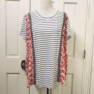 Style & Co Blue White Striped T-Shirt